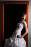 Fashion bride. In white dress Royalty Free Stock Photos