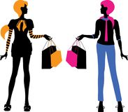 Fashion bright women shopping silhouettes isolated vector Stock Image