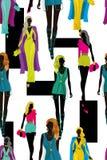 Fashion bright women silhouettes illustration pattern Stock Image