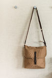 Fashion brown shoulder bag Stock Photos