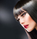 Fashion Brunette. Beautiful Brunette Girl With Healthy Long Hair Stock Images