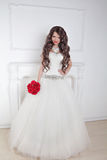 Fashion brunette bride in  wedding dress posing over modern deco Stock Photos