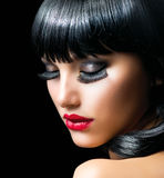 Fashion Brunette Girl. Portrait close-up Royalty Free Stock Photo