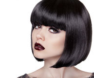 Fashion Brunette Girl. Black Healthy Hair. Bob Hairstyle.  Stock Photos