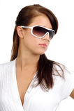 Fashion brunette in sun glasses royalty free stock photography