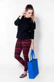 Fashion brunette woman with bag stock photography