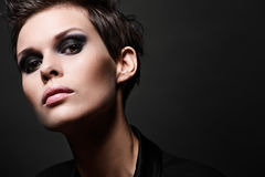 Fashion brunette woman with short hair cut Royalty Free Stock Photography