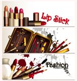 Fashion business cards set with cosmetic accessories Royalty Free Stock Photos