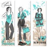Fashion business cards set with stylish trendy girls stock illustration