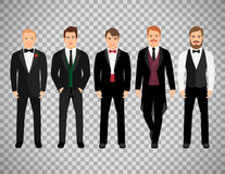 Fashion business men on transparent background. Fashion cartoon elegant business characters isolated on transparent background. Vector illustration Stock Image
