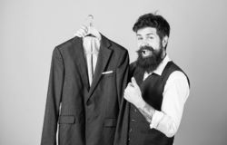 Fashion for business people. Custom made suit. Man bearded fashion couturier tailor. Elegant custom suit. Tailoring and. Clothes design. Perfect fit. Custom stock photos
