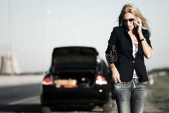 Free Fashion Business Woman Calling On Phone Next To Broken Car Royalty Free Stock Photography - 16166607