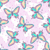 Fashion Butterflies pattern. Vector illustration for fabric or wrapping paper. Summer print design.  Stock Images
