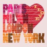 Fashion Capitals t-shirt graphic design Royalty Free Stock Photo
