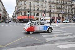 Fashion car driving in Paris street stock photos