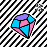 Fashion card with dyamond in pop art style. Fashion card with dyamond in pop art 80s, 90s retro style. Vector illustration Royalty Free Stock Photos
