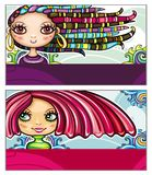 Fashion cards. Set of colorful decorative business cards featuring attractive girls with stylish hair styles. Space for your information. #1 stock illustration