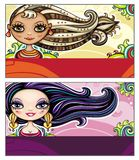 Fashion cards. Set of colorful decorative business cards featuring attractive girls with stylish hair styles. Space for your information. #2 royalty free illustration