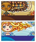 Fashion cards. Set of colorful decorative business cards featuring attractive girls with stylish hair styles. Space for your information. #3 vector illustration