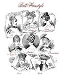 Vintage fashion for fun: fancy ball hairstyles. Fashion 1890 caricature and fun: clever hairstyles for a ball Stock Photo