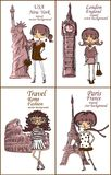 Fashion Cartoon Girl travels,vector Stock Photo