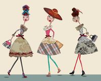 Fashion cartoon girls. Digital collage with watercolors elements Royalty Free Stock Photography