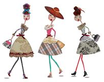Fashion cartoon girls. Digital collage with watercolors elements Stock Image