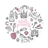 Fashion cartoon magic objects. Cute fairy tale princess, castle, dragon, unicorn and other elements. royalty free illustration