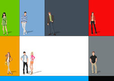 Fashion cartoon young people Stock Photography