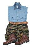 fashion casual man set/tigerstripe camouflage pants/chambray shirt royalty free stock photos