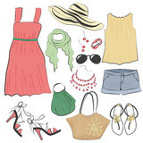 Fashion casual woman summer dress clothes and accessories collection set. Fashion casual woman summer dress clothes and accessories collection set Royalty Free Stock Image