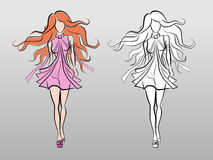 Fashion Catwalk Model. Vector image of a сatwalk model in fashionable dress. Hand-drawing/sketchy style royalty free illustration