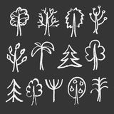 Fashion chalk sketches of trees. Set of sketch trees for your design. Vector illustration Stock Photo