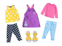 68ad9e8f1 Fashion child girl modern bright clothing isolated. Bright modern baby  child girl clothes set isolated
