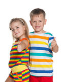Fashion children in striped shirts Royalty Free Stock Images