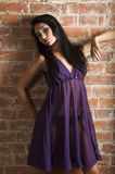 Fashion chinese girl violet nightgown Stock Photos