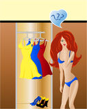 Fashion choice.Girl think what dress wearing Royalty Free Stock Photo