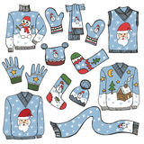 Fashion Christmas.Different knitted clothing set Stock Images