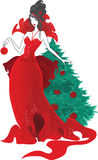 Fashion Christmas illustration. Women silhouettes in red dress isolated Royalty Free Stock Photos