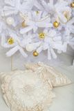 Fashion Christmas tree, white with gold balls Stock Images