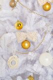 Fashion Christmas tree, white with gold balls Royalty Free Stock Images