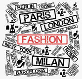 Fashion cities word cloud Royalty Free Stock Images