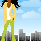 Fashion City African American. An illustration featuring a casually dressed african american woman standing in front of a city with blue sky and clouds Royalty Free Stock Photography