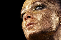 Fashion classic gold lips Royalty Free Stock Images