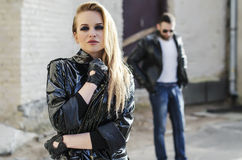 Fashion closeup picture of a woman  standing in front of his man Royalty Free Stock Photography