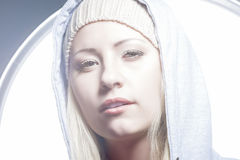Fashion Closeup Portrait of Caucasian Blnd Woman Royalty Free Stock Image
