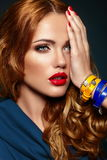Fashion closeup stylish blond with red lips Stock Image