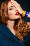 Fashion closeup sexy stylish blond with red lips Royalty Free Stock Photos