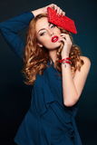 Fashion closeup sexy stylish blond with red lips Stock Photo