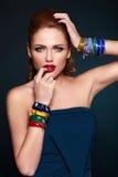 Fashion closeup sexy stylish blond with red lips Royalty Free Stock Photo